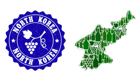 Vector collage of wine map of North Korea and grape grunge seal stamp. Map of North Korea collage composed with bottles and grape berries bunches.