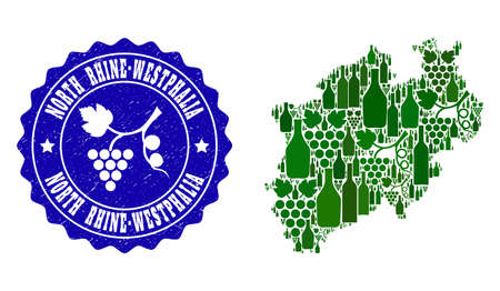 Vector collage of wine map of North Rhine-Westphalia State and grape grunge seal stamp. Map of North Rhine-Westphalia State collage formed with bottles and grape berries bunches. Illustration