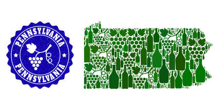 Vector collage of wine map of Pennsylvania State and grape grunge stamp. Map of Pennsylvania State collage composed with bottles and grape berries bunches.
