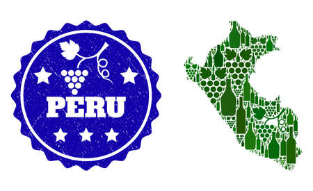 Vector collage of wine map of Peru and grape grunge seal. Map of Peru collage created with bottles and grape berries bunches. Illustration