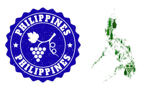 Vector collage of wine map of Philippines and grape grunge seal stamp. Map of Philippines collage formed with bottles and grape berries bunches. Illustration