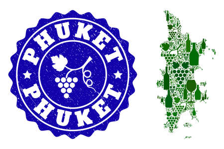 Vector collage of wine map of Phuket and grape grunge stamp. Map of Phuket collage designed with bottles and grape berries bunches.