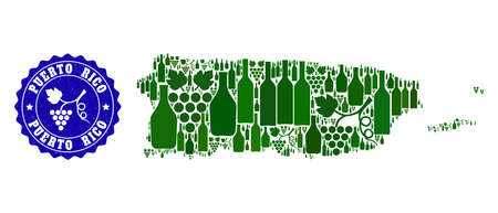Vector collage of wine map of Puerto Rico and grape grunge seal stamp. Map of Puerto Rico collage created with bottles and grape berries bunches.