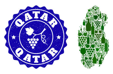 Vector collage of wine map of Qatar and grape grunge stamp. Map of Qatar collage designed with bottles and grape berries bunches.