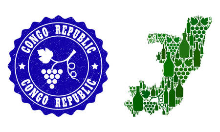 Vector collage of wine map of Republic of the Congo and grape grunge seal stamp. Map of Republic of the Congo collage formed with bottles and grape berries bunches. Illustration