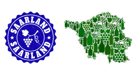 Vector collage of wine map of Saarland State and grape grunge stamp. Map of Saarland State collage formed with bottles and grape berries bunches.