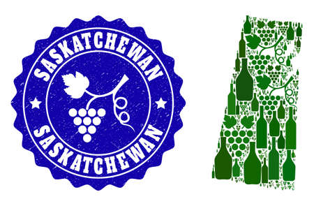 Vector collage of wine map of Saskatchewan Province and grape grunge stamp. Map of Saskatchewan Province collage created with bottles and grape berries bunches.