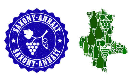 Vector collage of wine map of Saxony-Anhalt State and grape grunge stamp. Map of Saxony-Anhalt State collage composed with bottles and grape berries bunches. Illustration