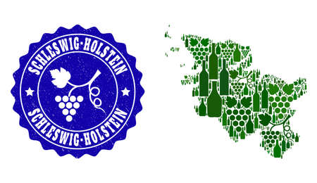 Vector collage of wine map of Schleswig-Holstein State and grape grunge seal. Map of Schleswig-Holstein State collage created with bottles and grape berries bunches.