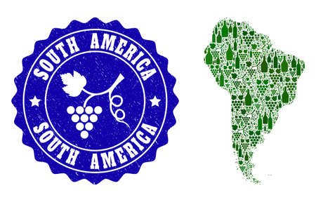 Vector collage of wine map of South America and grape grunge seal stamp. Map of South America collage composed with bottles and grape berries bunches. Illustration