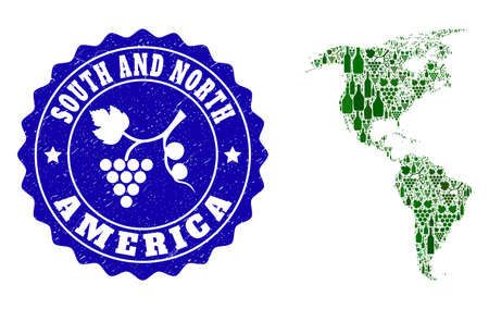 Vector collage of wine map of South and North America and grape grunge seal stamp. Map of South and North America collage formed with bottles and grape berries bunches.
