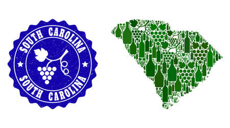Vector collage of wine map of South Carolina State and grape grunge seal. Map of South Carolina State collage composed with bottles and grape berries bunches.