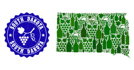 Vector collage of wine map of South Dakota State and grape grunge seal stamp. Map of South Dakota State collage designed with bottles and grape berries bunches. Illustration