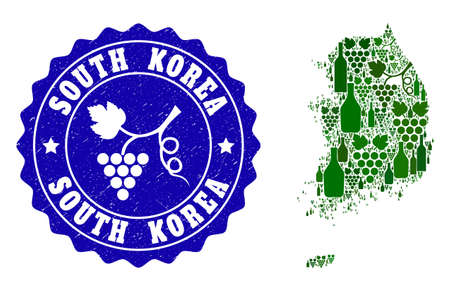 Vector collage of wine map of South Korea and grape grunge seal. Map of South Korea collage formed with bottles and grape berries bunches. Illustration