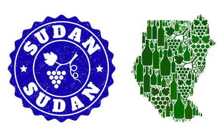 Vector collage of wine map of Sudan and grape grunge seal. Map of Sudan collage created with bottles and grape berries bunches.