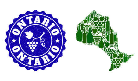 Vector collage of wine map of Ontario Province and grape grunge seal. Map of Ontario Province collage formed with bottles and grape berries bunches.