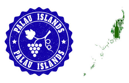 Vector composition of wine map of Palau Islands and grape grunge seal stamp. Map of Palau Islands collage created with bottles and grape berries bunches. Illustration