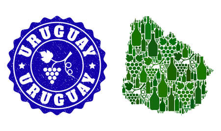Vector collage of wine map of Uruguay and grape grunge seal stamp. Map of Uruguay collage composed with bottles and grape berries bunches.