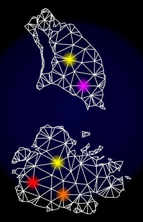 Mesh vector map of Antigua and Barbuda with glare effect on a dark background. Abstract lines, triangles, light colorful spots and points forms map of Antigua and Barbuda.