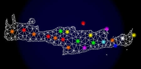 Mesh vector map of Crete Island with glare effect on a dark background. Abstract lines, triangles, light colorful spots and points forms map of Crete Island.