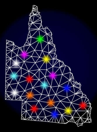 Mesh vector map of Australian Queensland with glare effect on a dark background. Abstract lines, triangles, light colorful spots and points forms map of Australian Queensland.