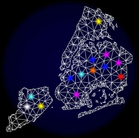 Mesh vector map of New York City with glare effect on a dark background. Abstract lines, triangles, light colorful spots and points forms map of New York City.