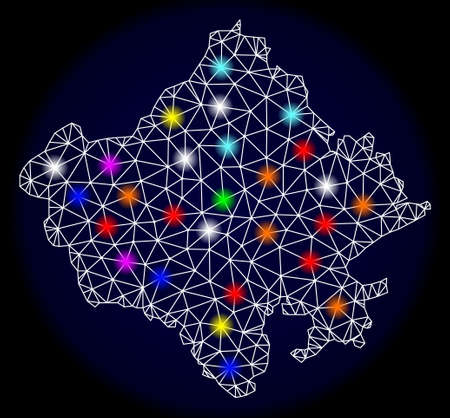 Mesh vector map of Rajasthan State with glare effect on a dark background. Abstract lines, triangles, light colorful spots and points forms map of Rajasthan State. Иллюстрация