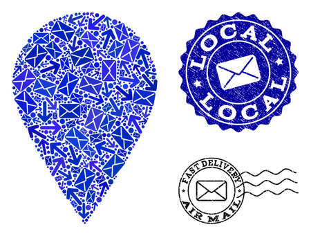 Post combination of blue mosaic local place and grunge stamp seals. Vector seals with corroded rubber texture with Airmail caption and envelope symbols. Flat design for post communication purposes. Illustration