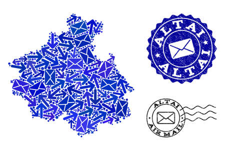 Mail composition of blue mosaic map of Altai Republic and grunge stamp seals. Vector seals with grunge rubber texture with Airmail title and envelope symbols. Flat design for post ways posters. 矢量图像