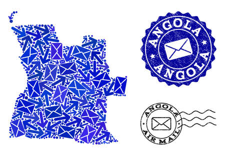 Post collage of blue mosaic map of Angola and corroded seals. Vector seals with grunge rubber texture with Airmail caption and envelope symbols. Flat design for post communication illustrations.