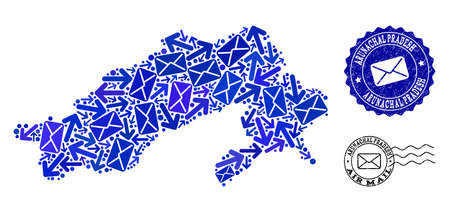Mail composition of blue mosaic map of Arunachal Pradesh State and textured stamp seals. Vector seals with corroded rubber texture with Airmail caption and envelope symbols.