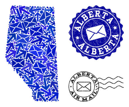 Mail combination of blue mosaic map of Alberta Province and rubber seals. Vector seals with scratched rubber texture with Airmail slogan and envelope symbols. Flat design for letters routes posters.