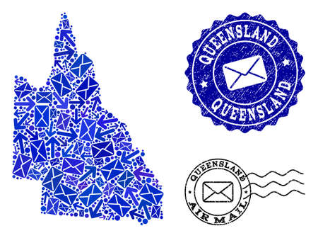 Post collage of blue mosaic map of Australian Queensland and corroded seals. Vector seals with corroded rubber texture with Airmail text and envelope symbols.