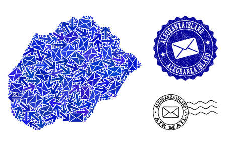 Mail combination of blue mosaic map of Alegranza Island and textured seals. Vector seals with unclean rubber texture with Airmail text and envelope symbols. Flat design for post motion purposes. Ilustração