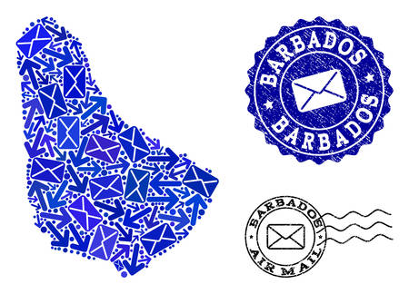 Post combination of blue mosaic map of Barbados and unclean stamp seals. Vector seals with corroded rubber texture with Airmail slogan and envelope symbols. Flat design for post routes purposes. Illustration