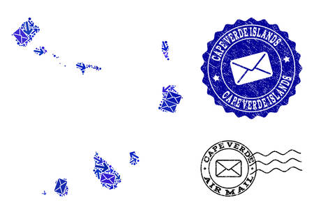 Post combination of blue mosaic map of Cape Verde Islands and corroded seals. Vector seals with scratched rubber texture with Airmail caption and envelope symbols.