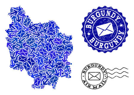 Post composition of blue mosaic map of Burgundy Province and rubber stamp seals. Vector seals with grunge rubber texture with Airmail slogan and envelope symbols. Illustration