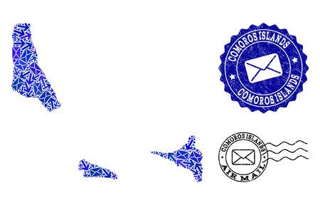 Post collage of blue mosaic map of Comoros Islands and rubber stamp seals. Vector watermarks with corroded rubber texture with Airmail text and envelope symbols. Flat design for post motion purposes.