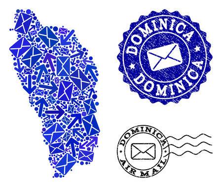 Post collage of blue mosaic map of Dominica Island and dirty seals. Vector seals with grunge rubber texture with Airmail text and envelope symbols. Flat design for post motion posters.