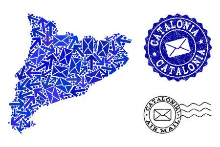 Post collage of blue mosaic map of Catalonia and grunge seals. Vector seals with corroded rubber texture with Airmail slogan and envelope symbols. Flat design for post pathways purposes.