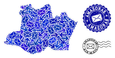 Post composition of blue mosaic map of Amazonas State and corroded stamp seals. Vector seals with corroded rubber texture with Airmail title and envelope symbols.