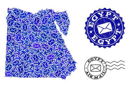 Post-collage d'une carte en mosaïque bleue de l'Égypte et de sceaux de timbres rayés. Empreintes vectorielles avec une texture en caoutchouc rayée avec des symboles de titre et d'enveloppe de la poste aérienne. Design plat pour les illustrations de lettres.