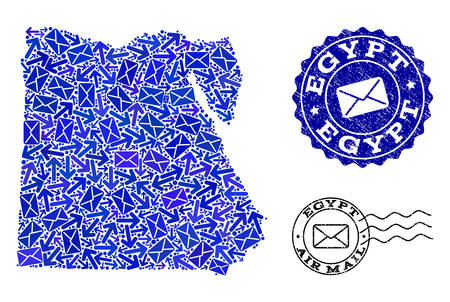Post collage of blue mosaic map of Egypt and scratched stamp seals. Vector imprints with scratched rubber texture with Airmail title and envelope symbols. Flat design for letters ways illustrations.