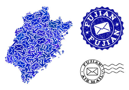 Post combination of blue mosaic map of Fujian Province and unclean stamp seals. Vector imprints with unclean rubber texture with Airmail title and envelope symbols.