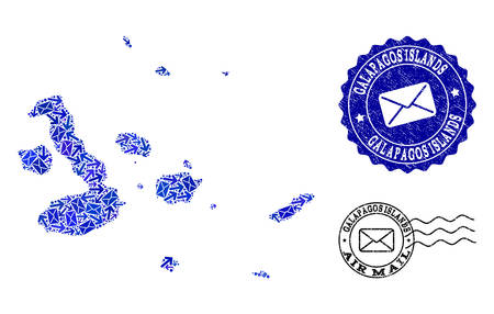 Post composition of blue mosaic map of Galapagos Islands and rubber seals. Vector seals with unclean rubber texture with Airmail text and envelope symbols. Flat design for letters delivery purposes.