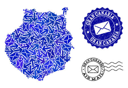 Mail composition of blue mosaic map of Gran Canaria and scratched stamp seals. Vector imprints with scratched rubber texture with Airmail slogan and envelope symbols. Illustration