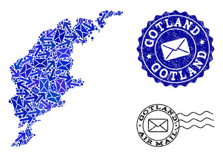 Post composition of blue mosaic map of Gotland Island and grunge stamp seals. Vector seals with corroded rubber texture with Airmail slogan and envelope symbols.