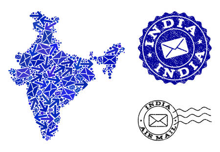 Mail collage of blue mosaic map of India and dirty stamp seals. Vector seals with scratched rubber texture with Airmail caption and envelope symbols. Flat design for mail routes illustrations.