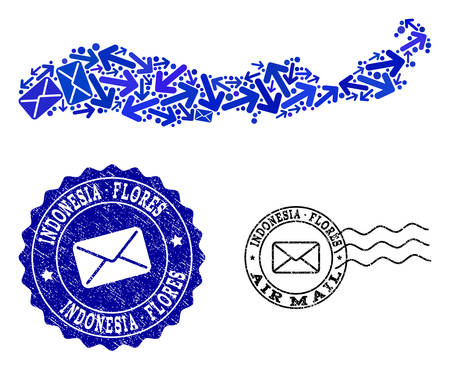 Mail composition of blue mosaic map of Indonesia - Flores Island and scratched stamp seals. Vector seals with scratched rubber texture with Airmail title and envelope symbols.