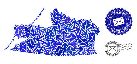 Post composition of blue mosaic map of Kalinigrad Region and grunge stamp seals. Vector seals with corroded rubber texture with Airmail text and envelope symbols.